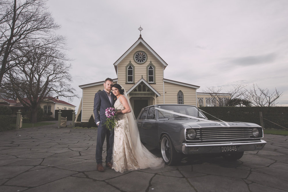 Vintage car | Astra Bride Cloe | Maggie Sottero Gianna | The Old Church Napier | Vintage Wedding | Richard Wood photographer |