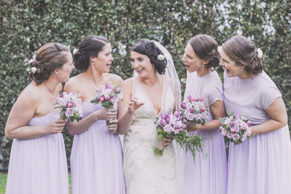 Fun image with bridesmaids | Astra Bride Cloe | Maggie Sottero Gianna | The Old Church Napier | Vintage Wedding | Richard Wood photographer |