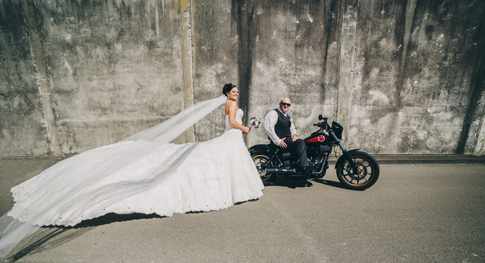 Harley Davidson bride | Astra bride Elysia | Marys bridal 6311 | David Le Photography