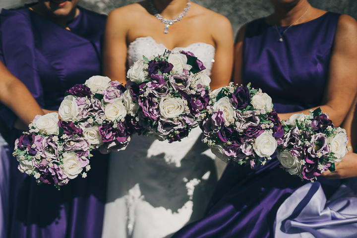 Purple bouquets | Astra bride Elysia | Marys bridal 6311 | David Le Photography