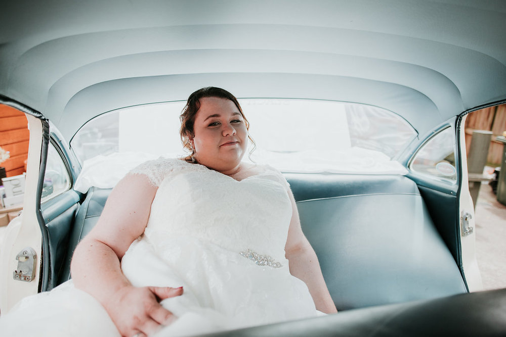 In the car | Astra bride Joanne | Bonny 1500 | Cassels venue | Chris Turner Photography