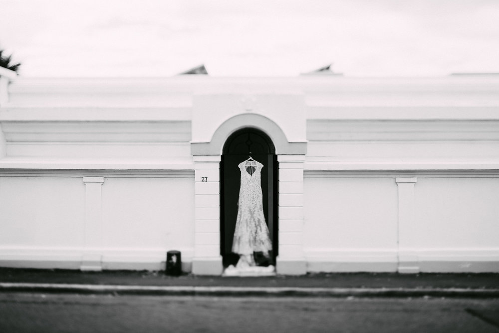 Gown awaits her bride | Astra Bride Simone | Maggie Sottero Melitta | The Old Church Napier | Brad Boniface Photographer |