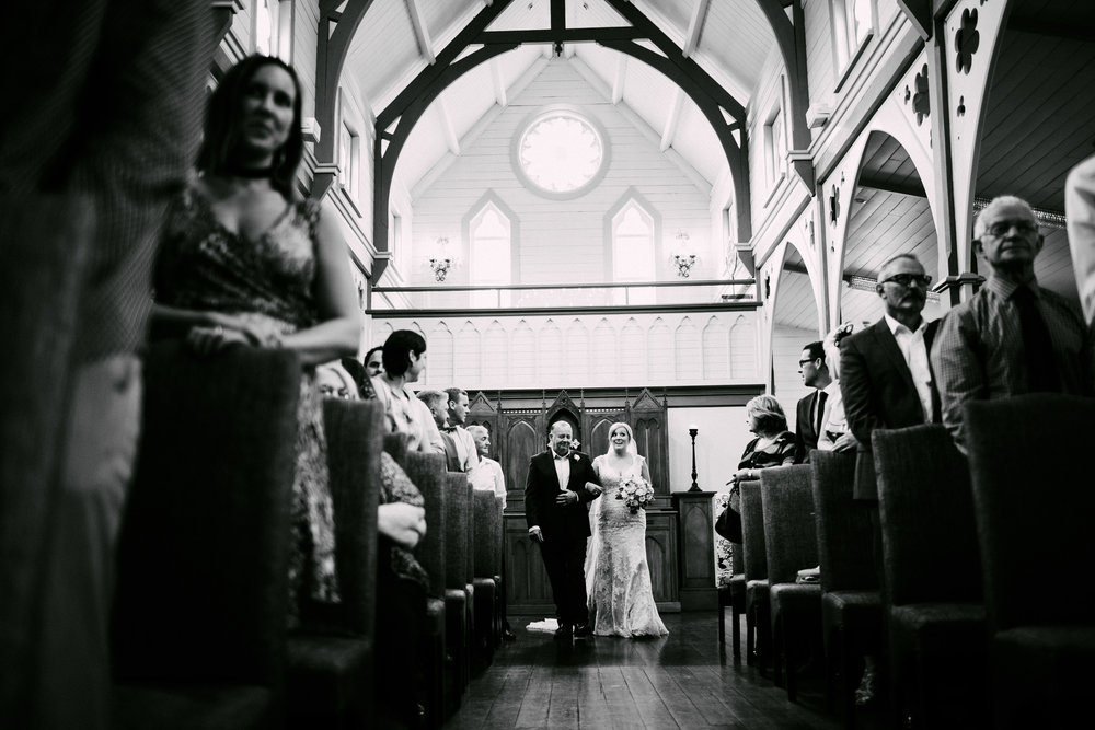 Entering the Church | Astra Bride Simone | Maggie Sottero Melitta | The Old Church Napier | Brad Boniface Photographer |