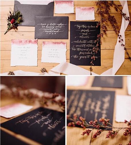 Wedding stationery | On Location | Red Boho Opulence | gown from Astra Bridal | www.borrowedandblue.kiwi | Photography by Proshot