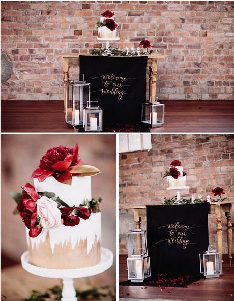 Wedding cake inspiration | On Location | Red Boho Opulence | gown from Astra Bridal | www.borrowedandblue.kiwi | Photography by Proshot