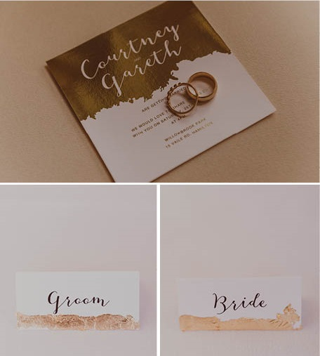 Gold wedding invitations | Astra Bride Courtney's Star Wars Wedding | Photography by Best Man Photography | gown from Astra Bridal | www.borrowedandblue.kiwi
