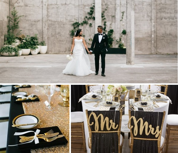 Black and Gold Wedding inspiration | Gown from Astra Bridal | www.borrowedandblue.kiwi