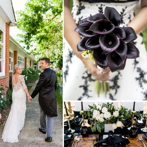 Classic Black wedding styling | gown from Astra Bridal | www.borrowedandblue.kiwi