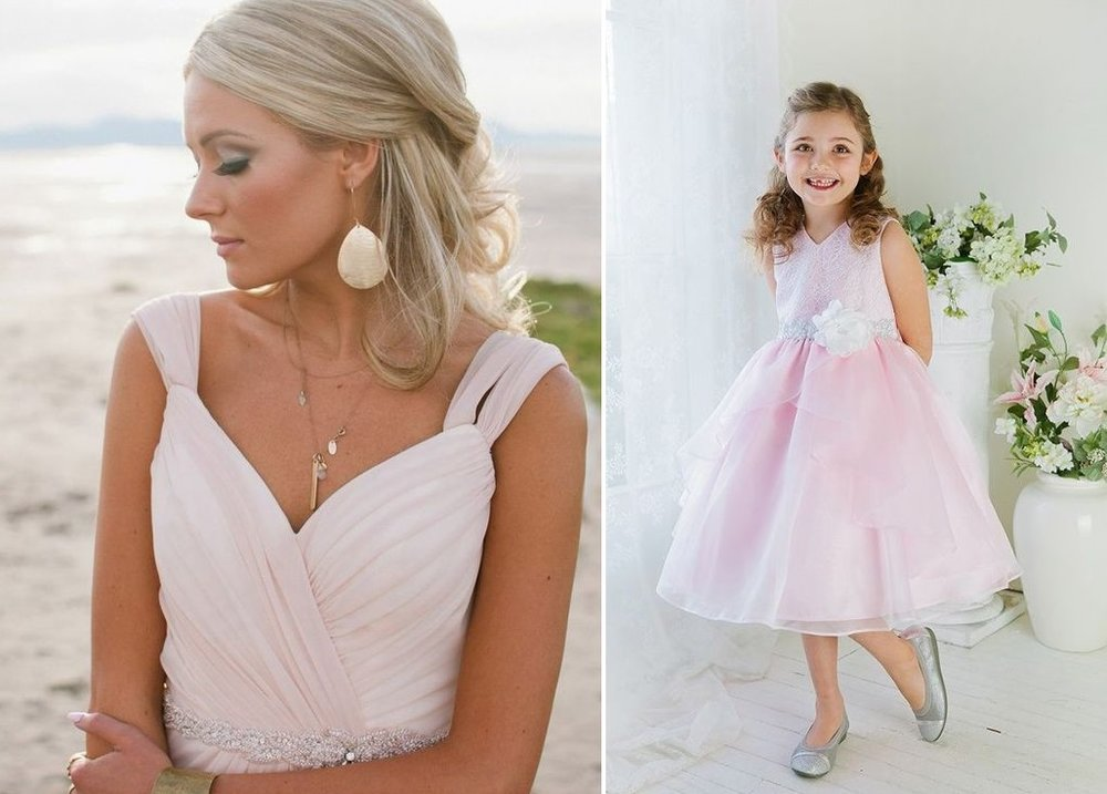 Flowergirl and bridesmaid pink wedding styling inspiration | Dress from Astra Bridal | www.borrowedandblue.kiwi