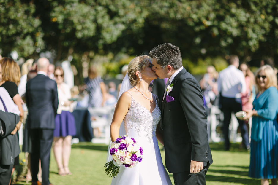 First kiss | Astra bride Stacey | Sottero & Midgley gown | Magenta Shores | Central Coast Photographers |