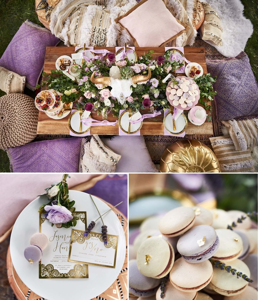 Boho Luxe meets Lavendar wedding inspiration | www.astrabridal.co.nz | Photography by Sephory Photography | www.borrowedandblue.kiwi