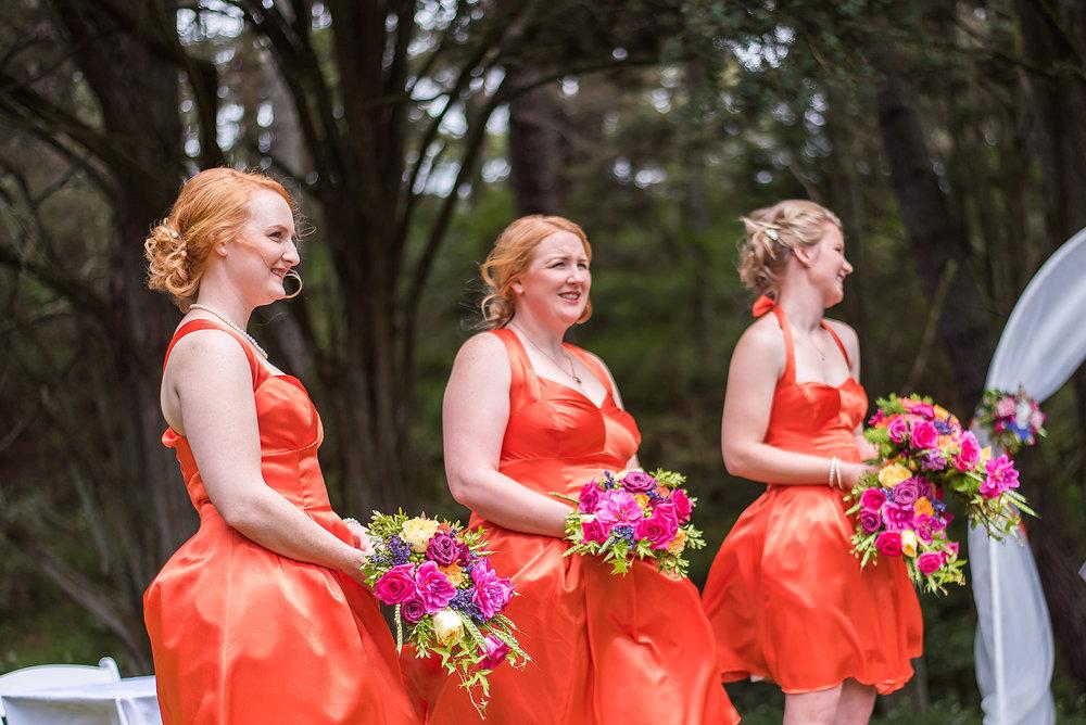 Orange bridesmaids | Astra Bride Rebecca | Maggie Sottero Melanie | Letfus Photography |