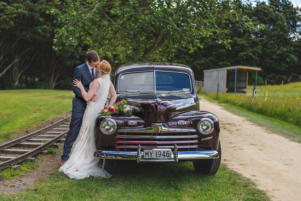 Vintage car | Astra Bride Rebecca | Maggie Sottero Melanie | Letfus Photography |