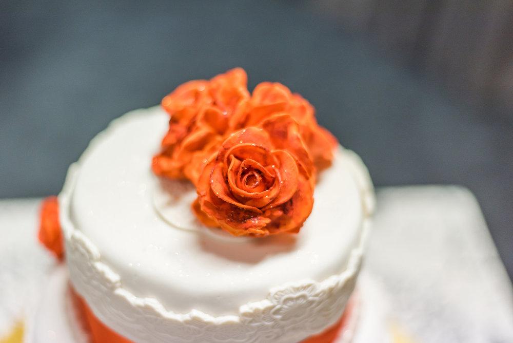 Orange floral cake | Astra Bride Rebecca | Maggie Sottero Melanie | Letfus Photography |