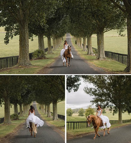 Beautiful bride on her horse | Astra Bride Tania's New Zealand country wedding | Wedding dress by Maggie Sottero from Astra Bridal NZ | www.borrowedandblue.kiwi
