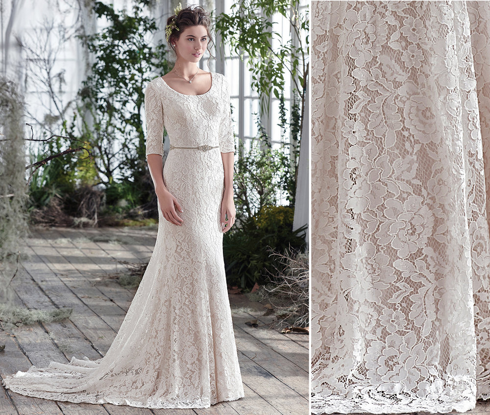 Knit lace allows the Maggie Sottero Fairchild to fall with weight and grace.