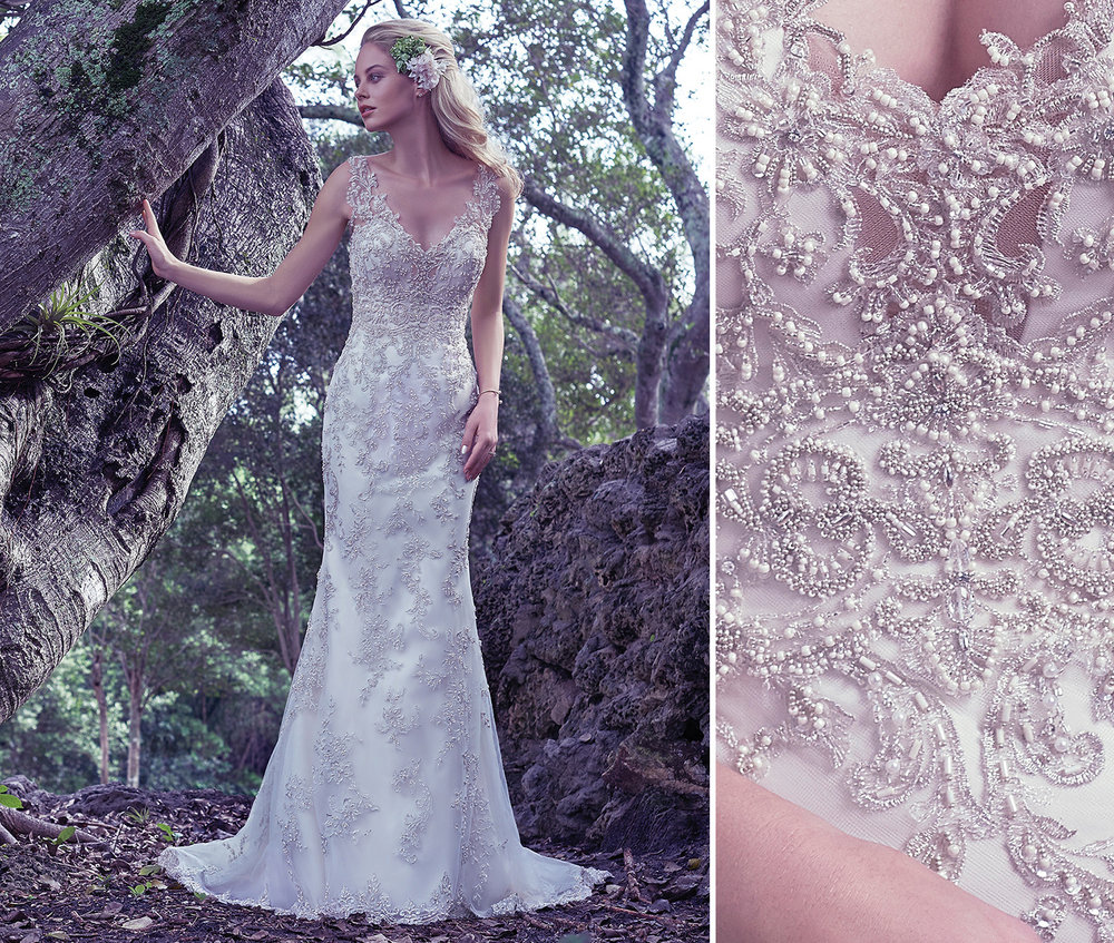 Maggie Sottero Greer created using embroidered lace.