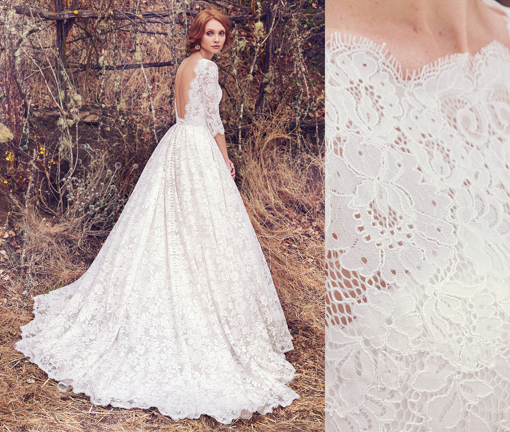 Cordelia creating a statement using chantilly lace. Delicate and voluminous all at once.