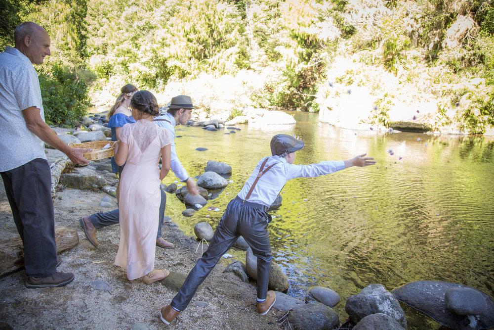 Petal toss | Astra Bride Kylie | Christina Rossi 4246 | Kaimai Mamaku Forest | Creative Grain Photography |