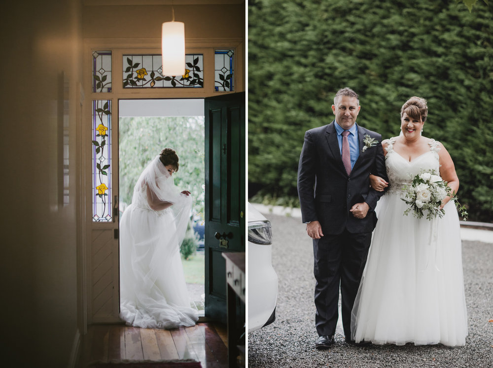 Off to the ceremony | Astra bride Michele | Maggie Sottero Shelby | Coney Wines Martinborough | Emily Adamson Photography |