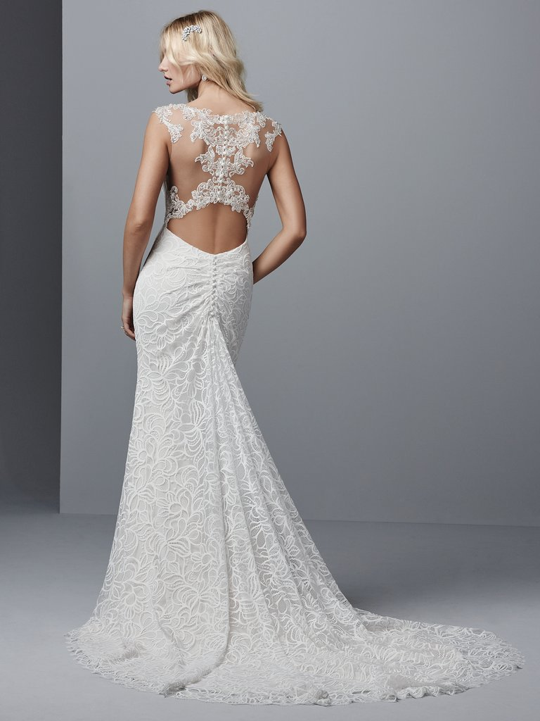 Tasha  by Sottero and Midgley Sparkle and illusion with a low-back cutout? Where do we sign?