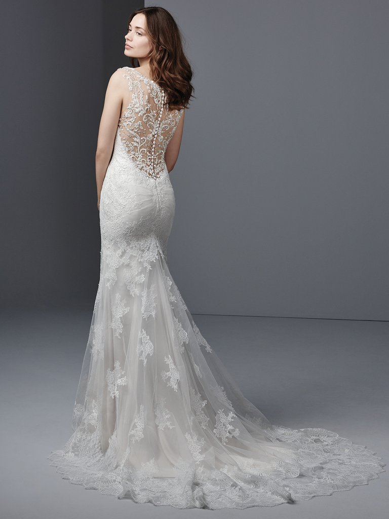 Palmer  by Sottero and Midgley A chic lace fit-and-flare in the front… crystal-embellished fabulousness in the back.