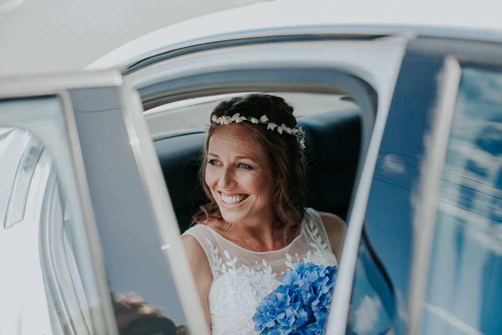 Bride arriving | Astra Bride Nicola | Milford Beach | Charlotte Christian Photography |