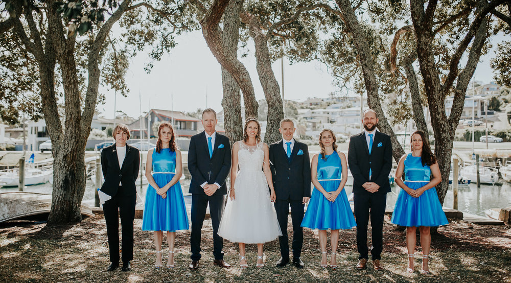 Bright blue bridesmiads | Astra Bride Nicola | Milford Beach | Charlotte Christian Photography |