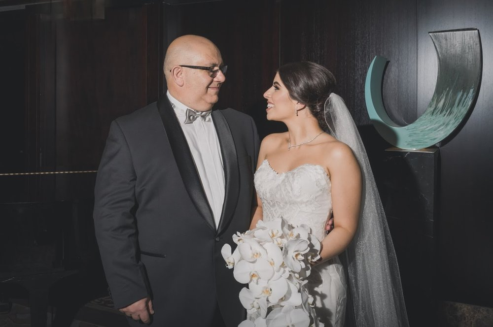 Father and daughter | Astra bride Basma | Sottero & Midgley Lovai | Langham Hotel | Levien & Lens Photography |