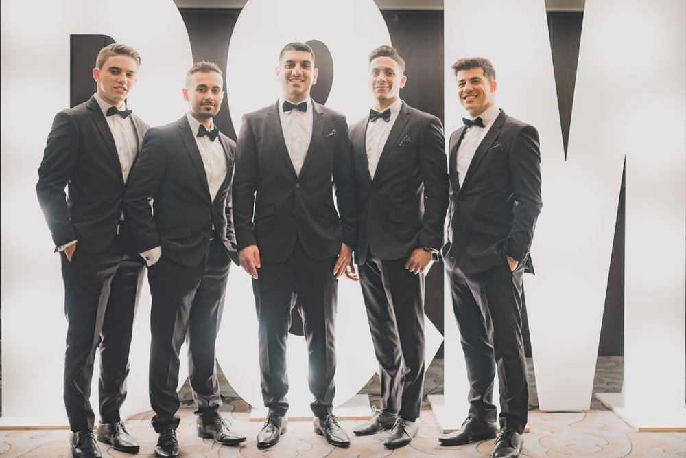 Groom and groomsmen | Astra bride Basma | Sottero & Midgley Lovai | Langham Hotel | Levien & Lens Photography |
