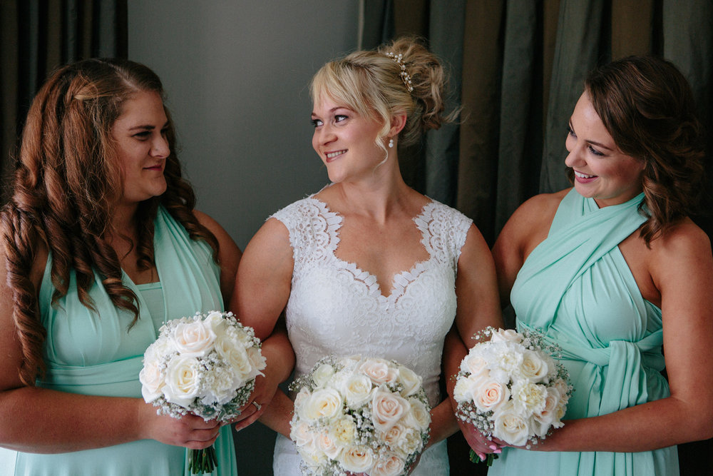 With bridesmaids | Astra Bride Sarah | Maggie Sottero Londyn | Sarnia Park | Marque Brand Studios
