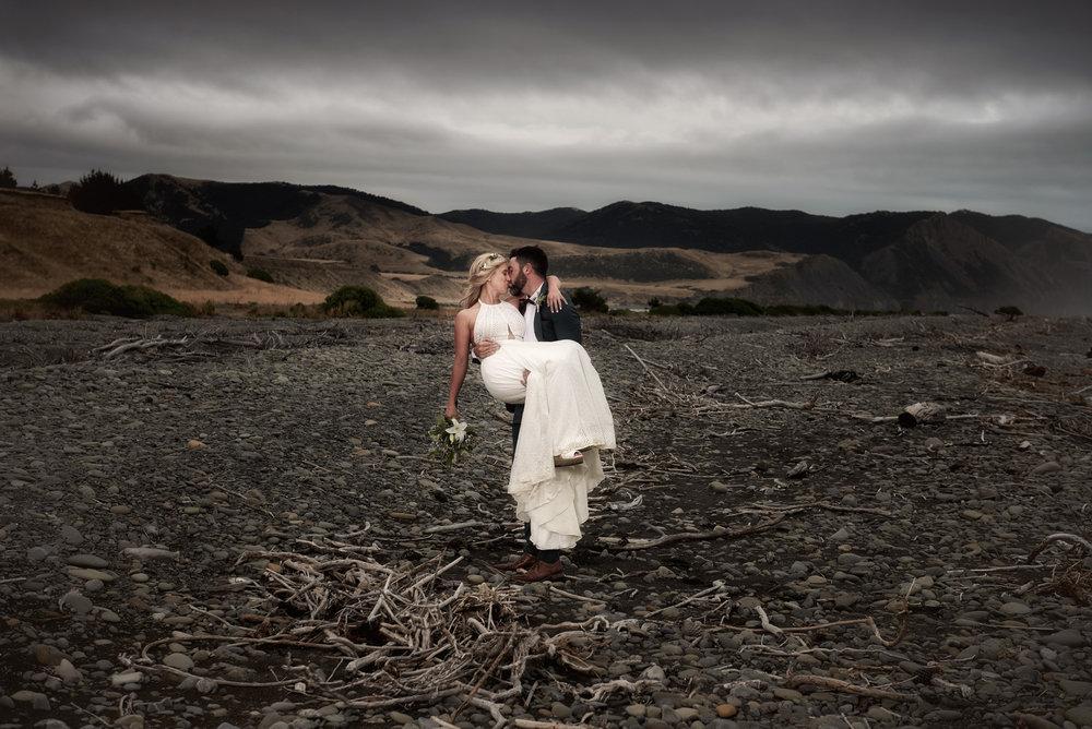 Driftwood beach | Astra Bride Julia | Sottero & Midgley Nicole | Cloudy Bay | Marlborough wedding photographer |
