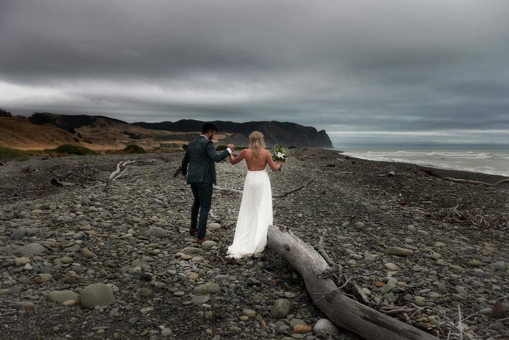 Dramatic shoreline | Astra Bride Julia | Sottero & Midgley Nicole | Cloudy Bay | Marlborough wedding photographer |