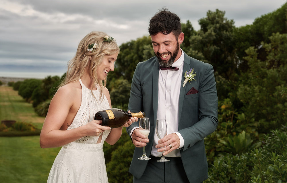 Time for a toast | Astra Bride Julia | Sottero & Midgley Nicole | Cloudy Bay | Marlborough wedding photographer |