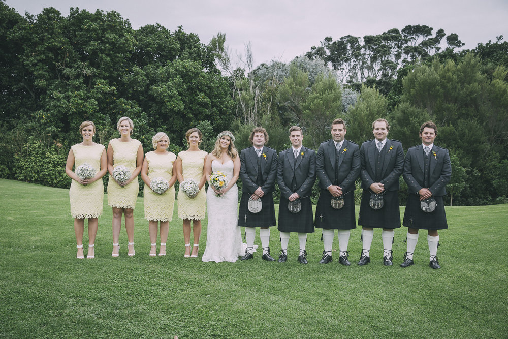 Yellow maids and kilted boys | Lucy Brophy | Maggie Sottero Chesney | The Bungalow | Aimee Kelly Photography |