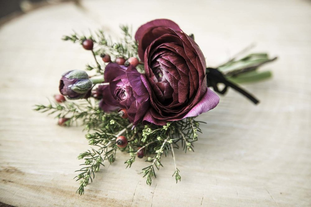 Wedding buttonhole for a rustic wedding | Omakau winter wedding inspiration | Photography by Fluidphoto | Gown from Astra Bridal | www.borrowedandblue.kiwi