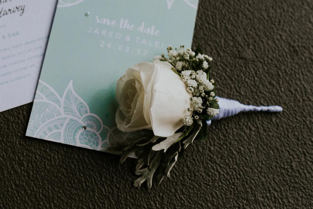 Flowerlounge boys pins | Astra Bride Talei | Maggie Sottero Ettia | The Bungalow Taranaki | Abi Hackling Photography |