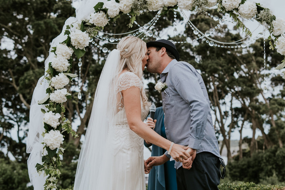 First kiss | Astra Bride Talei | Maggie Sottero Ettia | The Bungalow Taranaki | Abi Hackling Photography |