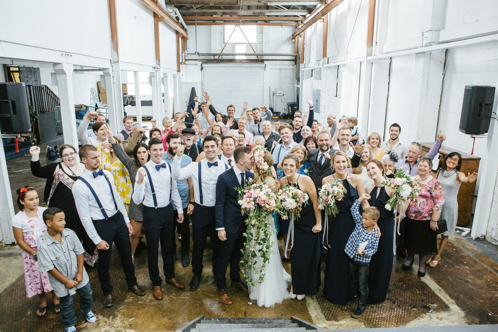 Wedding group shot | Astra Bride Emma | Upper Room Church | Maggie Sottero Melinda | Wonder Ferris photography |
