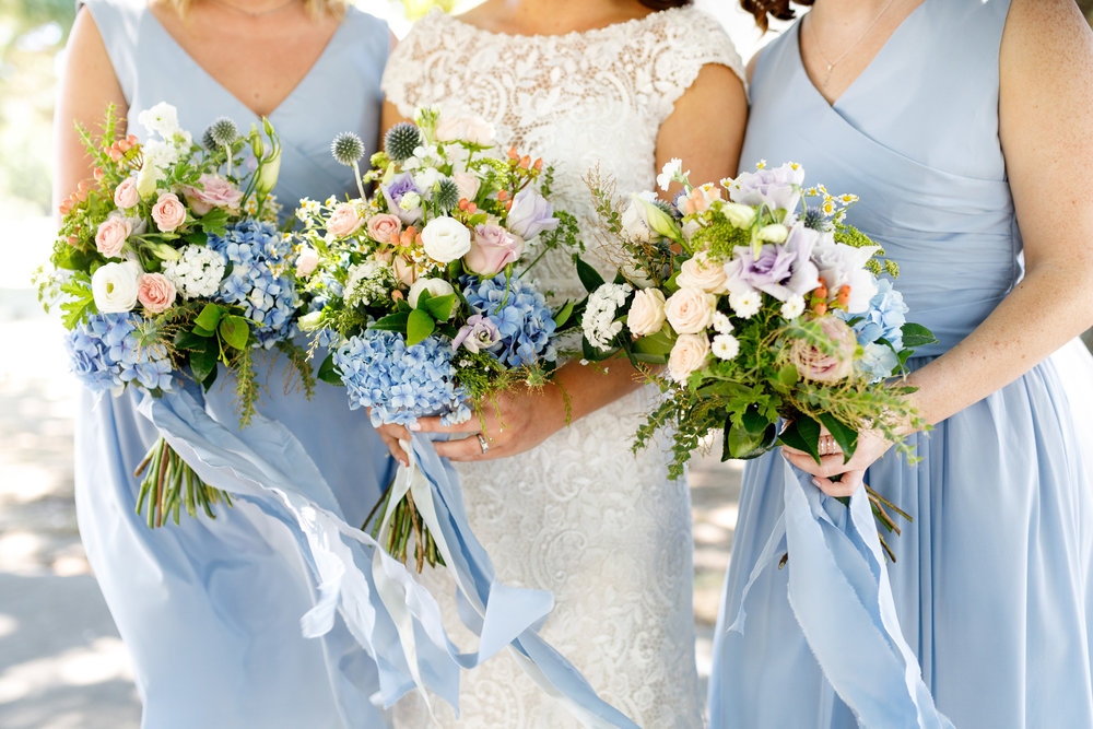 Blush and blue flowers | Astra bride Lucy | Maggie Sottero Georgia | The Old Church Napier | Eva Bradley Photography |