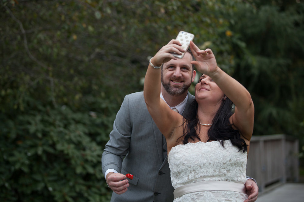 First selfie as a married couple | Astra bride Kelly | Maggie Sottero Karena Royale | Sarnia Park | Steve Brown wedding Photography |