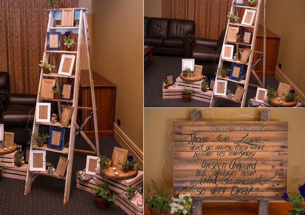 Rustic displays | Astra bride Kelly | Maggie Sottero Karena Royale | Sarnia Park | Steve Brown wedding Photography |