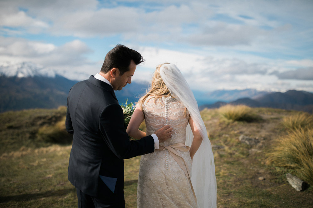 Alpine top wedding | Astra bride Sara | Sottero & Midgley Diana | Mount Roy and Alta Tarns Wanaka | Grey Area Productions |