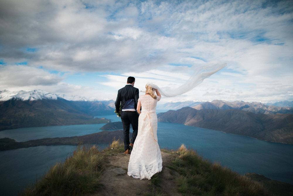 Mountain top wedding | Astra bride Sara | Sottero & Midgley Diana | Mount Roy and Alta Tarns Wanaka | Grey Area Productions |