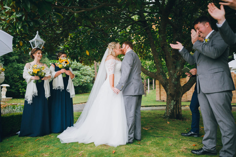 First kiss Astra bride Ruth | Maggie Sottero Nadia | Wallaceville House | The Woods Photography |