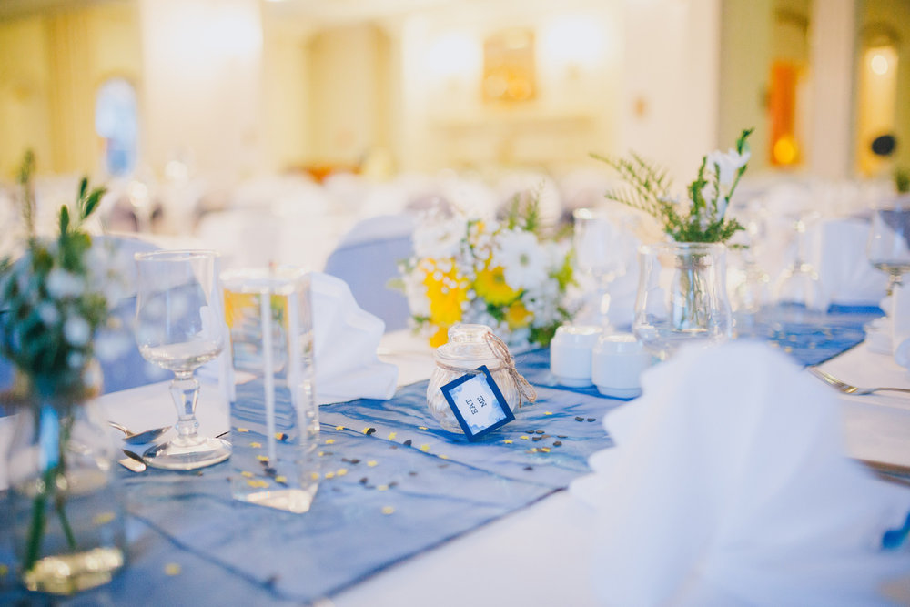 Blue table settings | Astra bride Ruth | Maggie Sottero Nadia | Wallaceville House | The Woods Photography |
