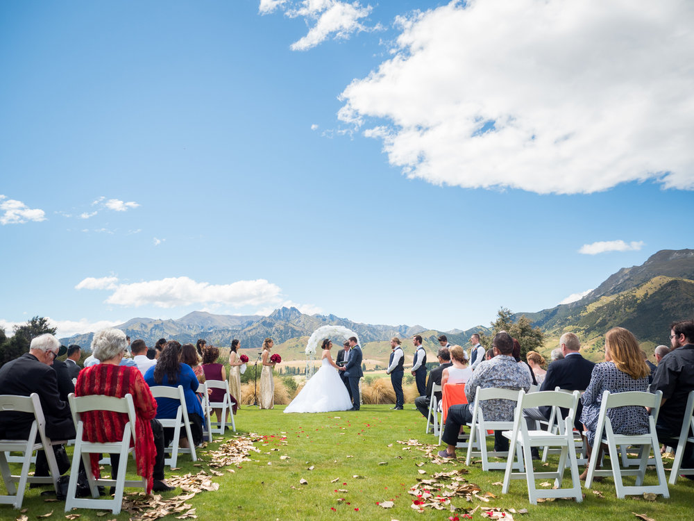 Outdoor aisle | Astra bride Lu | Maggie Sottero Mindi | Lookout Lodge Wanaka | Peanut Productions Photography