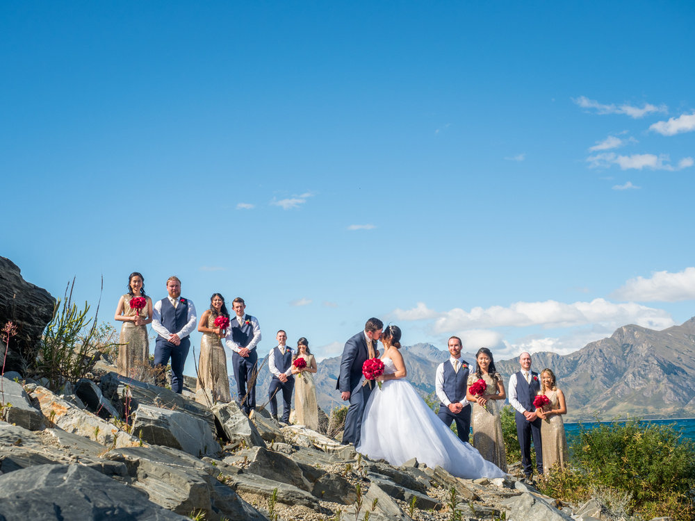 Lakeside wedding party | Astra bride Lu | Maggie Sottero Mindi | Lookout Lodge Wanaka | Peanut Productions Photography