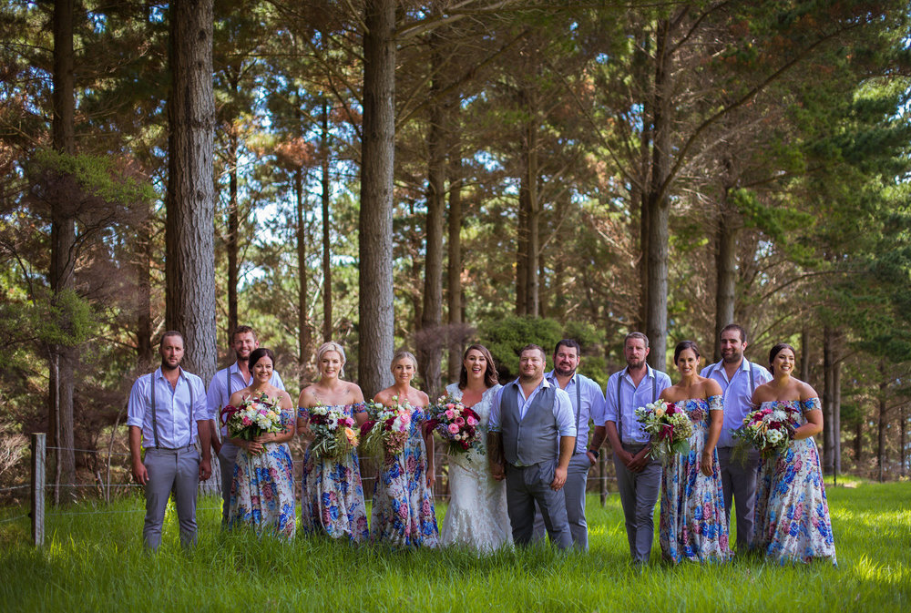 Wedding party in the forest | Astra bride Martine | Maggie Sottero Londyn | Sante Fe at Ahipara | Nicole Jecentho Photographer