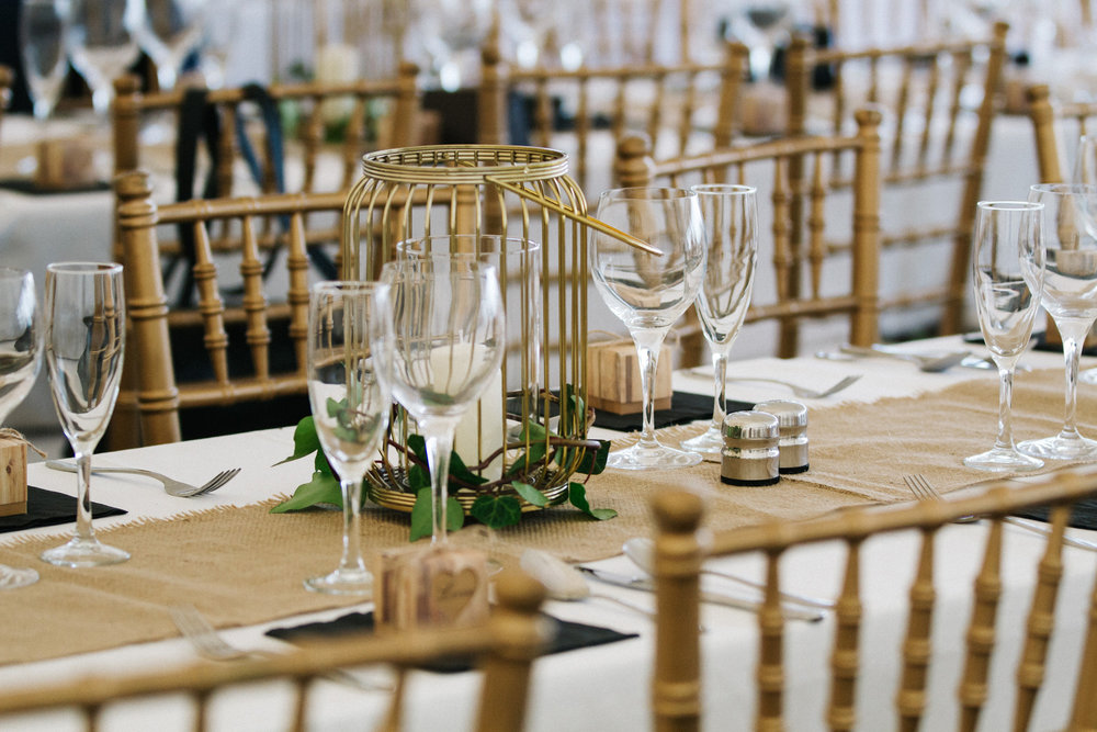 Gold and hessian rustic settings | Astra bride Rhiannon | Maggie Sottero Collins | Wedding at home | Mason Bennett Photography |